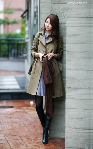 Double Breasted Trench Coat Detachable Liner - YannyExpress  - 1