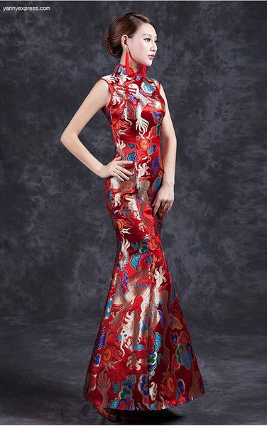 Dragon & Phoenix Sequined Chinese Wedding Mermaid Qipao Gown - YannyExpress  - 1