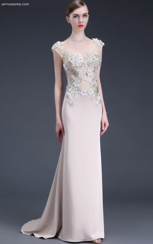 Embellished Illusion Back Gown - YannyExpress  - 1