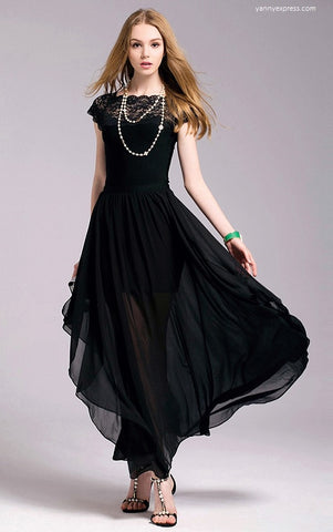 Embellished Lace & Chiffon Gown - YannyExpress  - 1