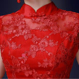 Embellished Trumpet Chinese Wedding Gown Lace Bridal Qipao - YannyExpress  - 5
