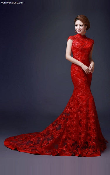 Embellished Trumpet Chinese Wedding Gown Lace Bridal Qipao - YannyExpress  - 1