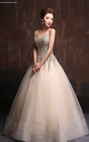 Embellished Tulle Strapless Golden Ballgown - YannyExpress  - 1