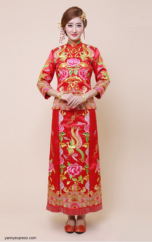 e4109a7d3 Embroider Dragon & Phoenix Kwa Qun Chinese Wedding Gown - YannyExpress - 1