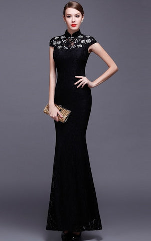 Embroidered Mesh Sheath Qipao Dress - YannyExpress  - 1