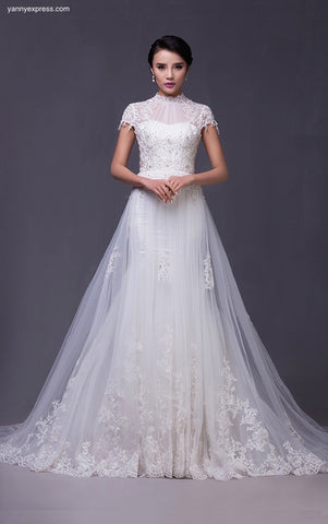 Exquisite Top-Pleated Embellished A-Line Wedding Gown - YannyExpress  - 1