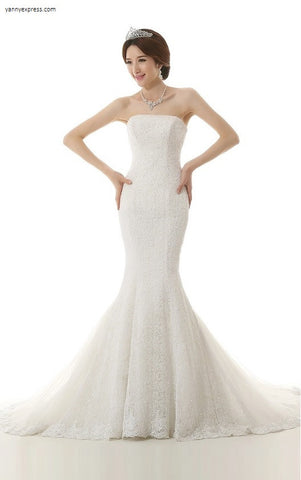 Faille Ivory Trumpet Wedding Dress - YannyExpress  - 1