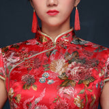 Floral Classic Traditional Bridal Qipao Gown - YannyExpress  - 5