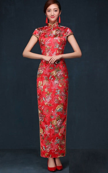 Floral Classic Traditional Bridal Qipao Gown - YannyExpress