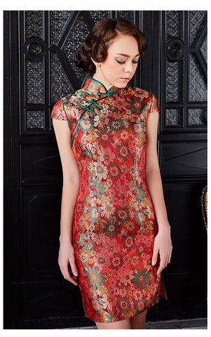 Floral Lace Sheath Qipao - YannyExpress  - 1