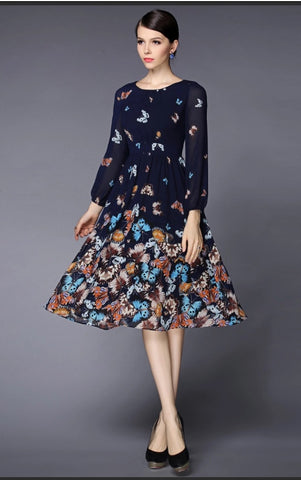 Floral Print Faille Fit & Flare Dress - YannyExpress  - 1