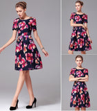 Floral Print Skater Dress - YannyExpress  - 3