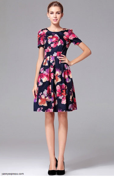 Floral Print Skater Dress - YannyExpress  - 1