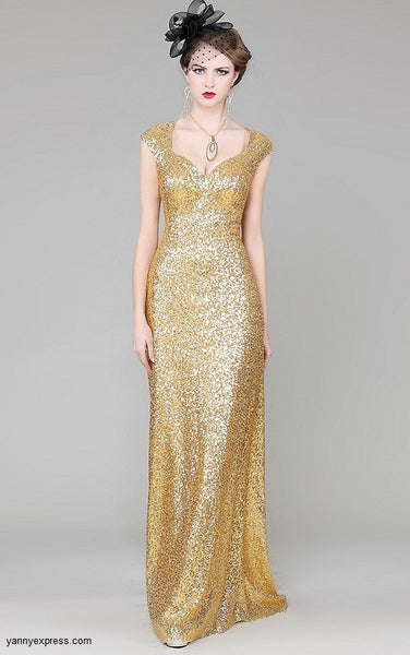 Glimmering Glamour Beaded Evening Ball Gown Prom Dress - YannyExpress  - 1