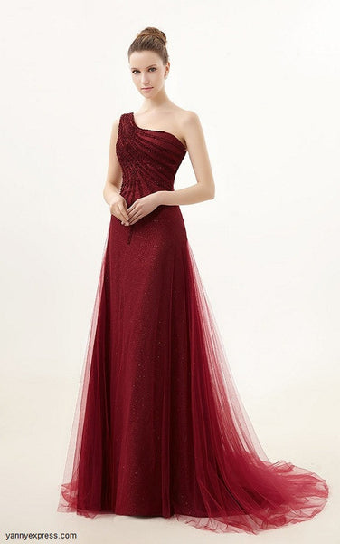 Glittering Perfection Asymmetrical Single Shoulder Ball Gown - YannyExpress  - 1