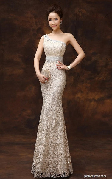 Gorgeous One-Shoulder Evening Bridesmaids Lace Overlay Gown - YannyExpress  - 1