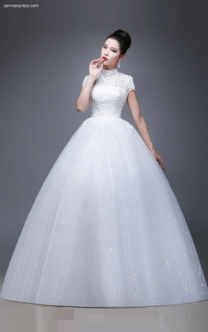 High Collar Lace A-line Wedding Gown - YannyExpress  - 1