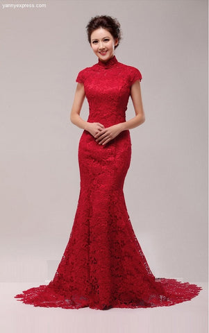 Glamorous Sequin Embroidered Trumpet Chinese Bridal Qipao - YannyExpress  - 1