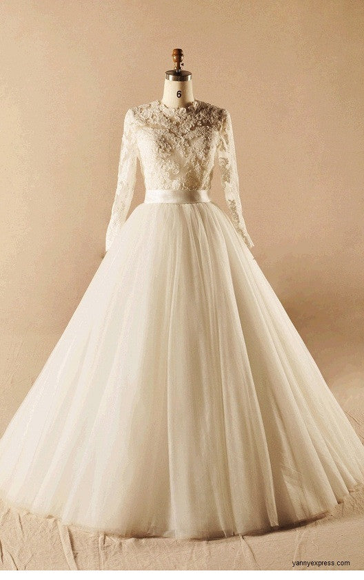 Ivory Modest French Lace Handmade A line Princess Wedding Gown ...