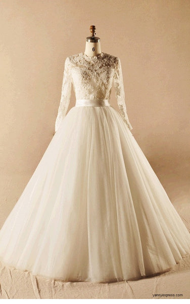 Ivory Modest French Lace Handmade A line Princess Wedding Gown - YannyExpress  - 1