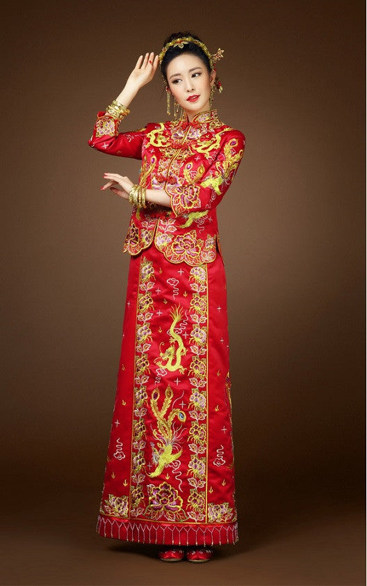 Kwa qun chinese wedding gown qipao yannyexpress for Traditional chinese wedding dress hong kong