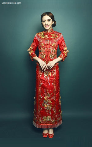 Kwa Qun Embroider Dragon and Phoenix Chinese Wedding Dress - YannyExpress  - 1