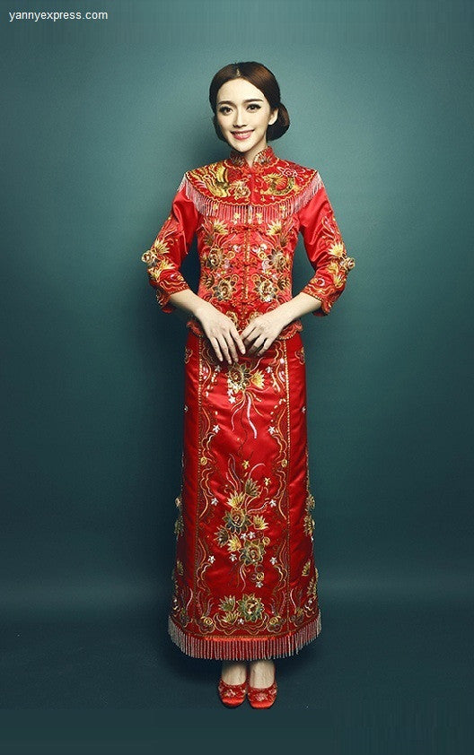 b1dfb18d4 Kwa Qun Embroider Dragon and Phoenix Chinese Wedding Dress - YannyExpress -  1