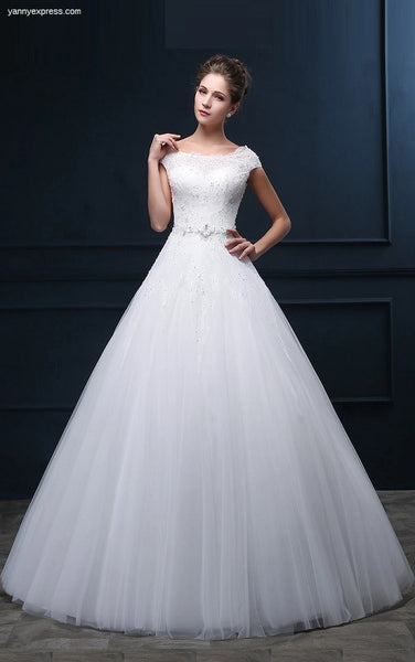Lace Bateau Illusion Bodice Tulle Wedding Dress - YannyExpress  - 1