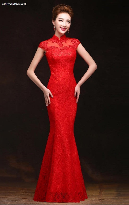 58d92498f Lace & Mesh Chinese Wedding Qipao Red Gown - YannyExpress - 1