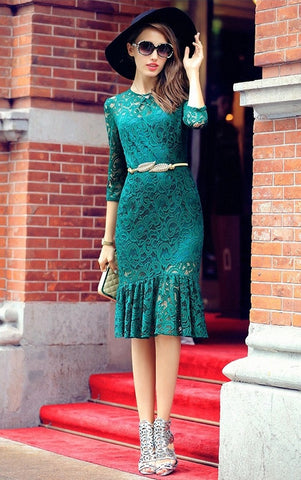 Lace Overlay Dress - YannyExpress  - 1