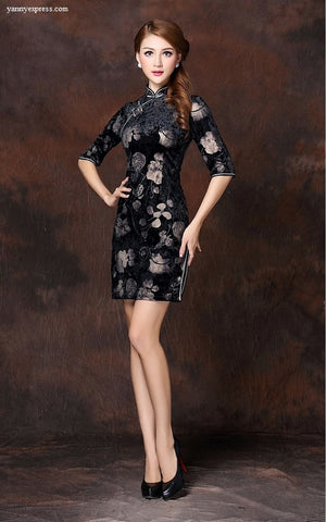 Lace Overlay Floral Party Qipao - YannyExpress  - 1