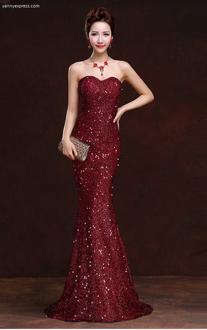 Lace Sequin Column Gown - YannyExpress  - 1