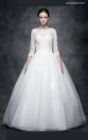 Lace Tulle Ball Bridal Gown with Illusion Neckline Style - YannyExpress  - 1