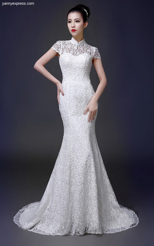 Lace & Tulle Trumpet Chinese Wedding Gown - YannyExpress  - 1