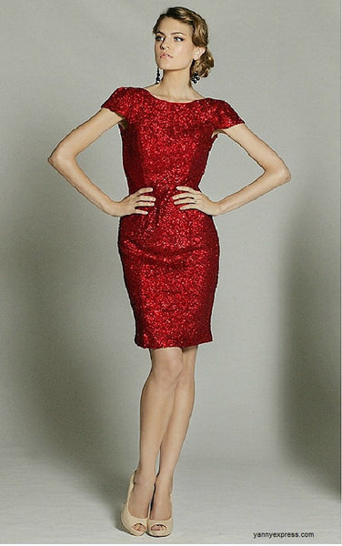Little Starry Night Cocktail Sequined Evening Dress Knee Length - YannyExpress  - 1