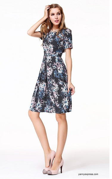 Love Skater Dress in Bright Floral - YannyExpress  - 1