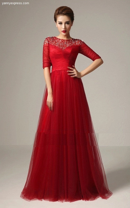 Lovely Draped Tulle Evening Ball Gown with Lace Yoke – YannyExpress