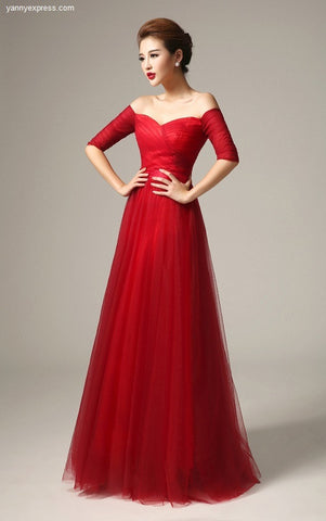 Lovely Draped Tulle Pleat Bodice Evening Ball Gown - YannyExpress  - 1