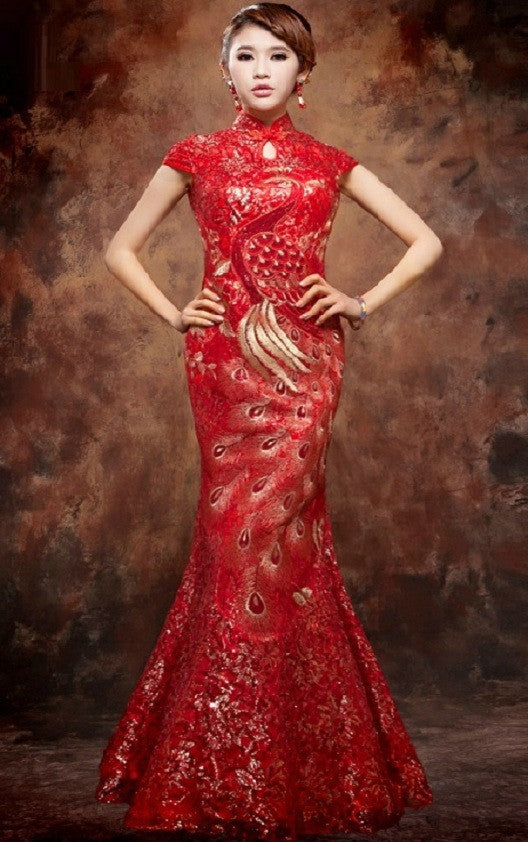 Mandarin Collar Chinese Bridal Cheongsam Evening Gown Yannyexpress