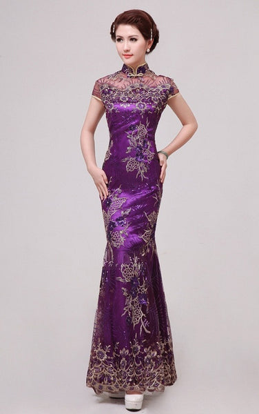 Mermaid Silhouette Lace Cheongsam Gown Evening Banquet Fishtail - YannyExpress  - 1