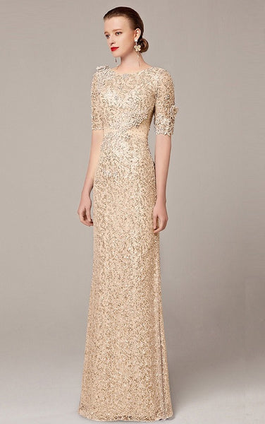 Mid Sleeve Sequin Mesh Gown - YannyExpress  - 1