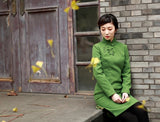 Minimalist Classic Knee Length Cheongsam Pure Color 1930 Style - YannyExpress  - 10