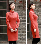 Minimalist Classic Knee Length Cheongsam Pure Color 1930 Style - YannyExpress  - 7