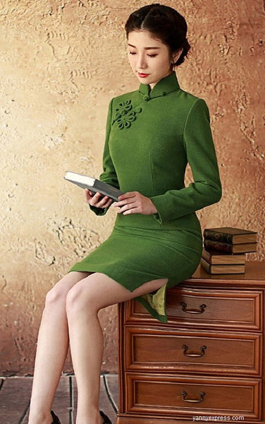 Minimalist Classic Knee Length Cheongsam Pure Color 1930 Style - YannyExpress  - 1
