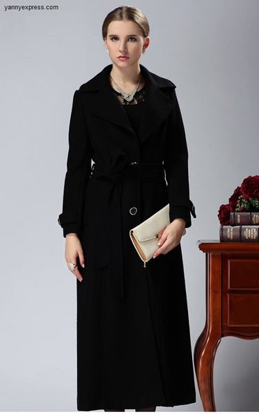 Notch Collar Wool Long Coat - YannyExpress  - 1