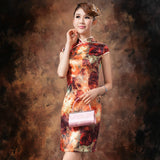 Oil Painting Knee Length Silk Casual Cheongsam - Crayola - YannyExpress  - 3
