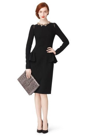 Long Sleeve Slim Dress with Peplum - YannyExpress  - 1