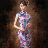 Purple Floral Oil Painting Silk Cheongsam Mandarin Collar - YannyExpress  - 2