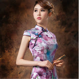 Purple Floral Oil Painting Silk Cheongsam Mandarin Collar - YannyExpress  - 4