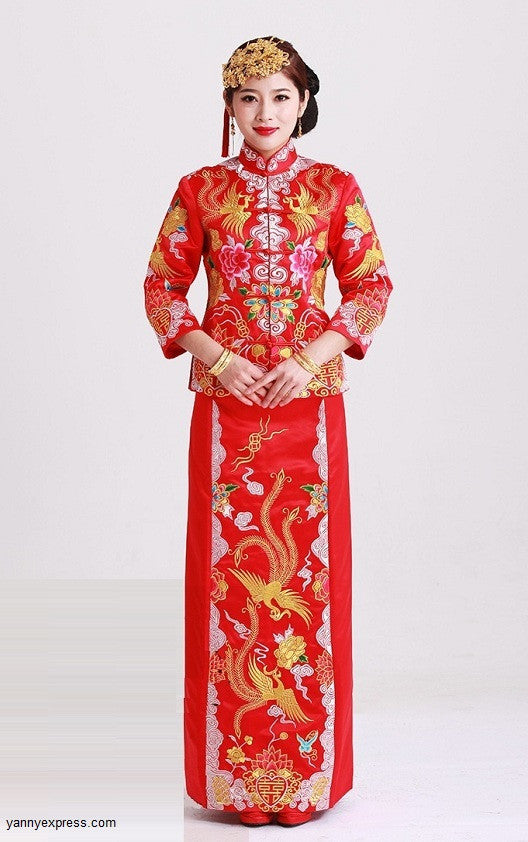 440fcc75f Qun Kwa Embroider Dragon & Phoenix Brocade Chinese Wedding Gown -  YannyExpress - 1